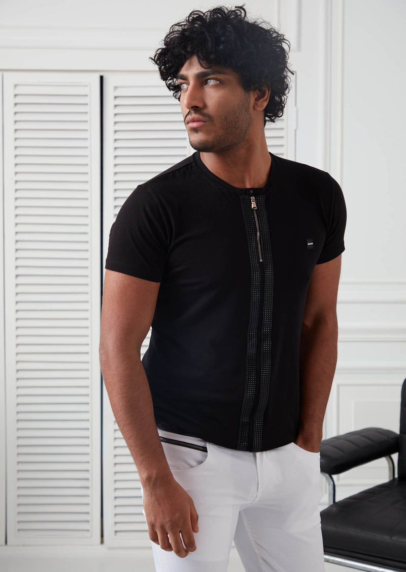 Black Leather Trim Round Neck Tee