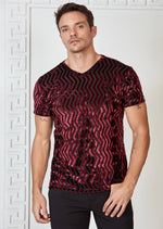 Burgundy Wave Velvet V-neck Tee