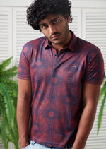 Burgundy Ornament Pattern Polo
