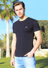 Navy Faux Leather Detailed Crew Neck Tee