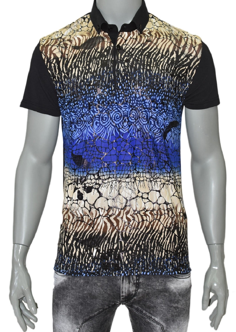 Black Blue Snake Print Polo