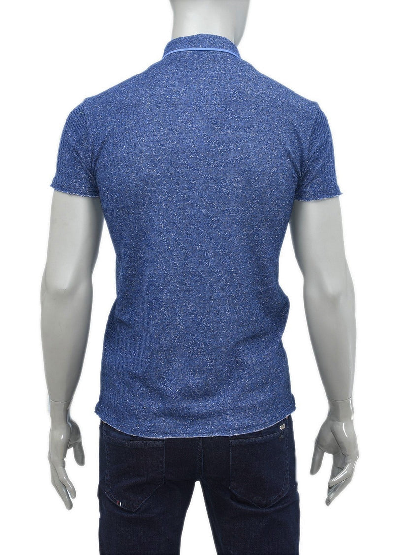 Blue Knit Casual Polo