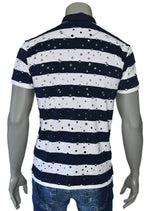 "White Navy ""All Over Cut"" Polo"
