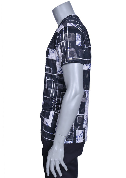 "Black/Gray  ""Anselmo"" square Print Tee"