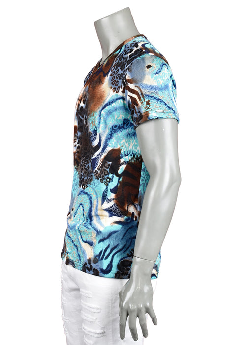 Blue Brown Leopard Print Tee