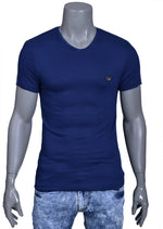 Navy Blue Knit V-neck Tee