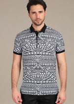 "Black ""Benedetto"" Abstract polo"