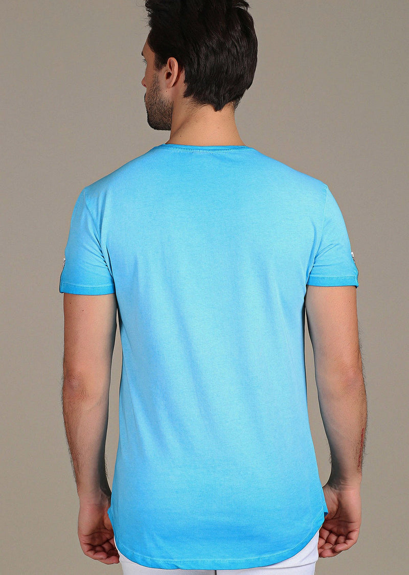 "Blue Dip-Dyed ""Lifestyle"" Zipper Tee"