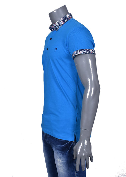 Blue Printed Detailed Collar Polo
