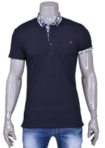 Navy Printed Detailed Collar Polo