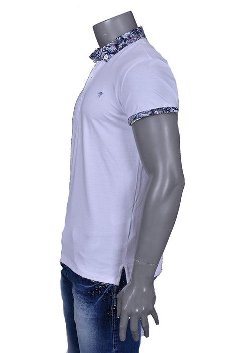 White Printed Detailed Collar Polo