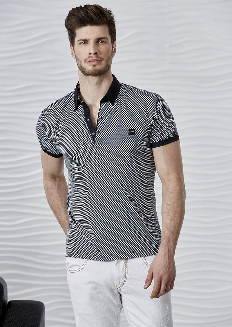 Black and White Checker Print Polo