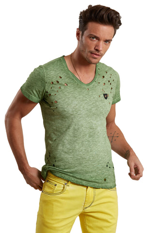 GREEN HERITAGE DISTRESSED DYED TSHIRT