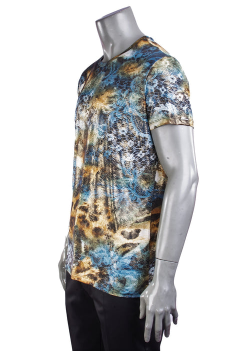 Blue Abstract Leopard Print Tee