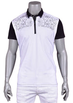 "White ""Augustino"" Studded Polo"