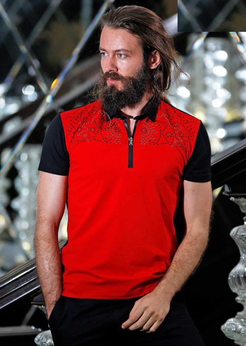 "Red ""Augustino"" Studded Polo"