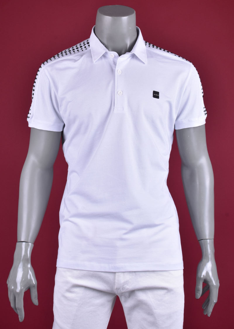 "White ""Aurelio"" Studded Polo"