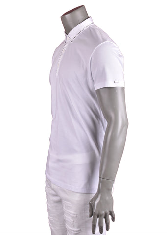White Eyelid Studded Modern Fit Polo