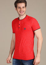 Red Linen-Cotton Blend Tee
