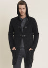 Black Gray Two-Tone Hooded Cardigan