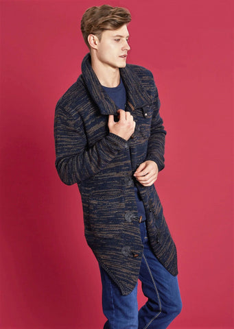 Brown Navy Two-Tone Cardigan