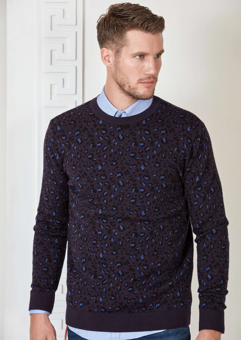 Navy Leopard Pattern Sweater