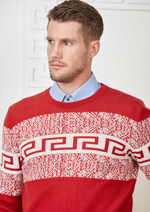 Red Meander Design Sweater