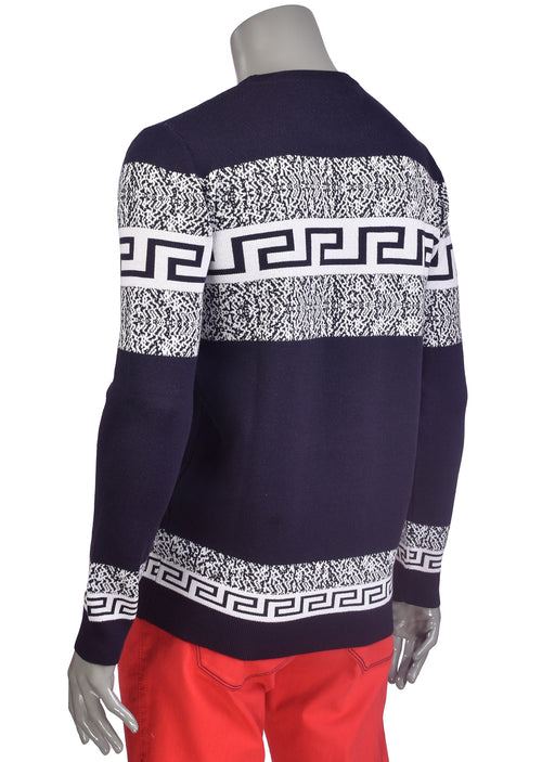 Navy White Meander Design Sweater