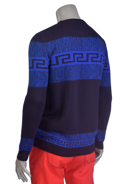 Navy-Royal Meander Design Sweater