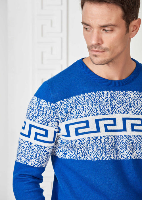 Blue Meander Design Sweater