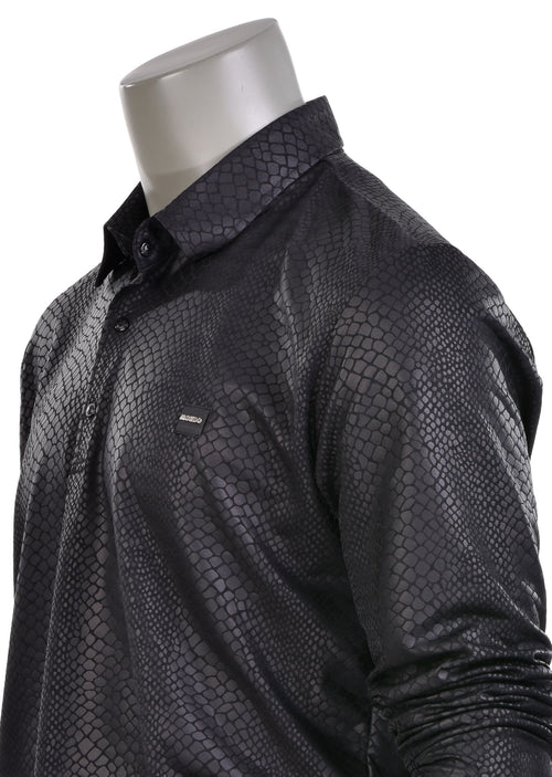 Black Snake Skin Long Sleeve Polo