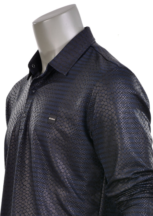 Black Blue Snake Skin Long Sleeve Polo