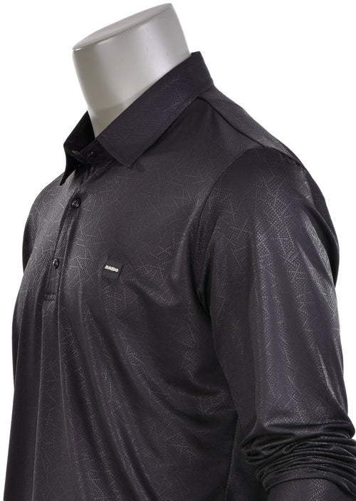 Black Micro Print Long Sleeve Polo