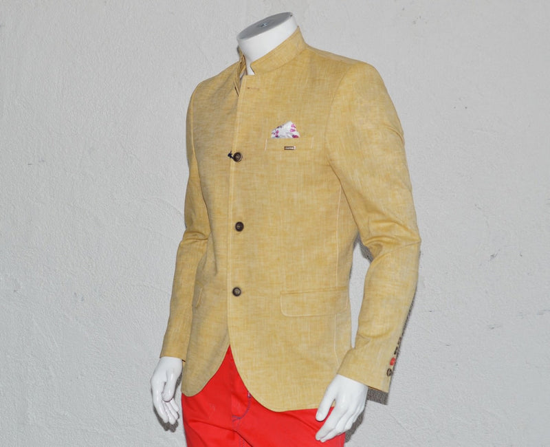 Yellow Mandarin Collar Blazer