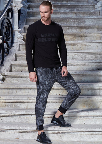 Black White Print Jogger Pants