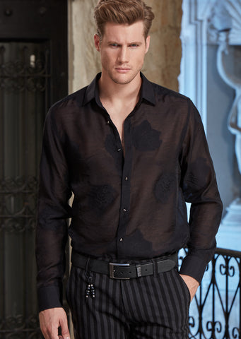 "Black Sheer ""Luici"" Long Sleeve Shirt"
