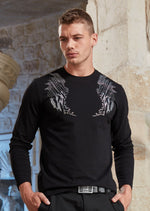 Black Wings Rhinestone Long Sleeve Tee
