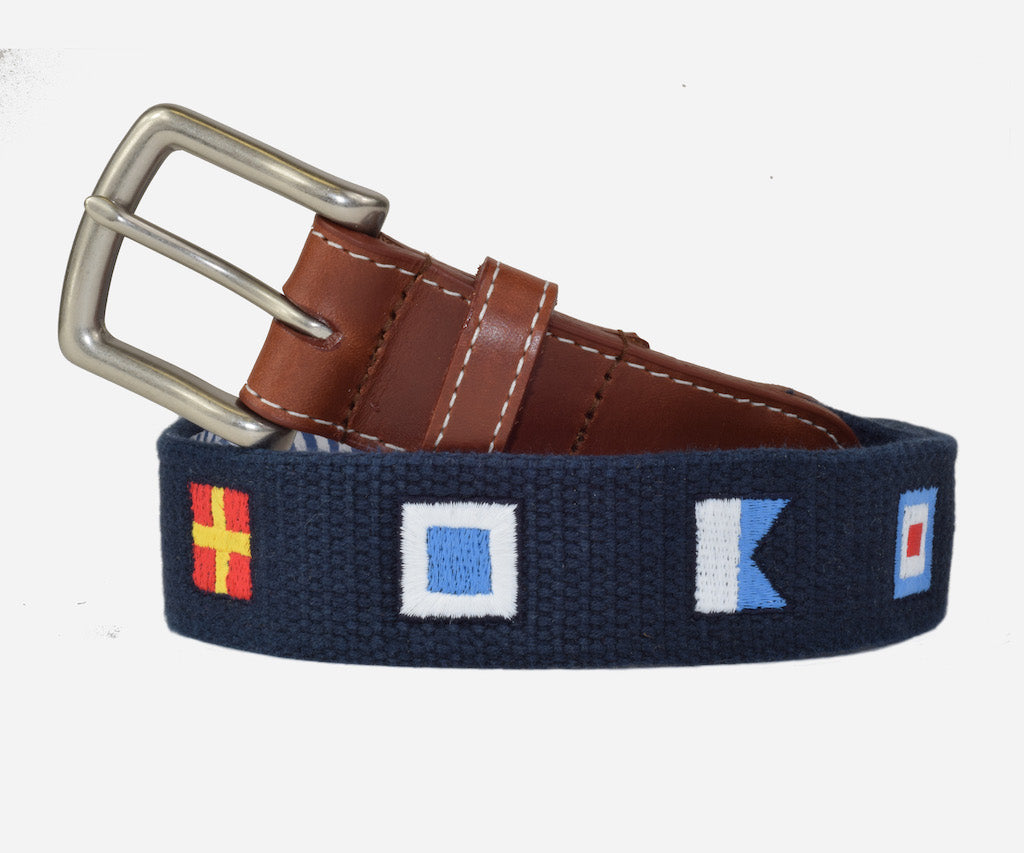 Anchors Aweigh Nautical Flags belt (patriot navy)