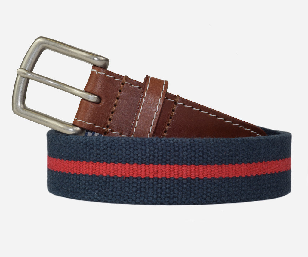 JT Spencer Stripe Belt (patriot navy/crimson)