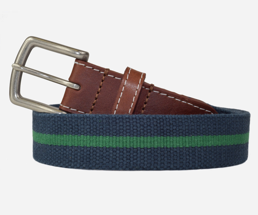 JT Spencer Stripe Belt (patriot navy/erin green)
