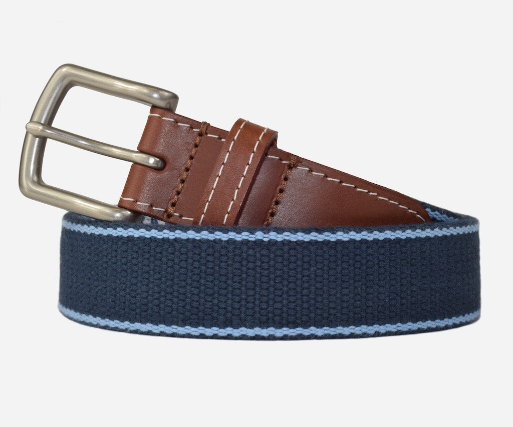 JT Spencer Stripe Belt (patriot navy/tarheel blue)