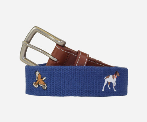 Quail Hunt with Pointer Dog Belt (antique navy)