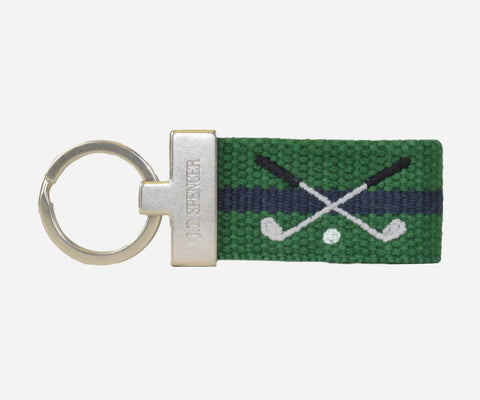 Golf Clubs key fob (erin green with patriot navy)