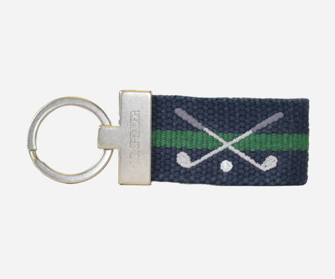Golf Clubs key fob (patriot navy with erin green)