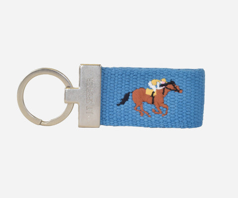 Horse Racing Key fob (marine blue)