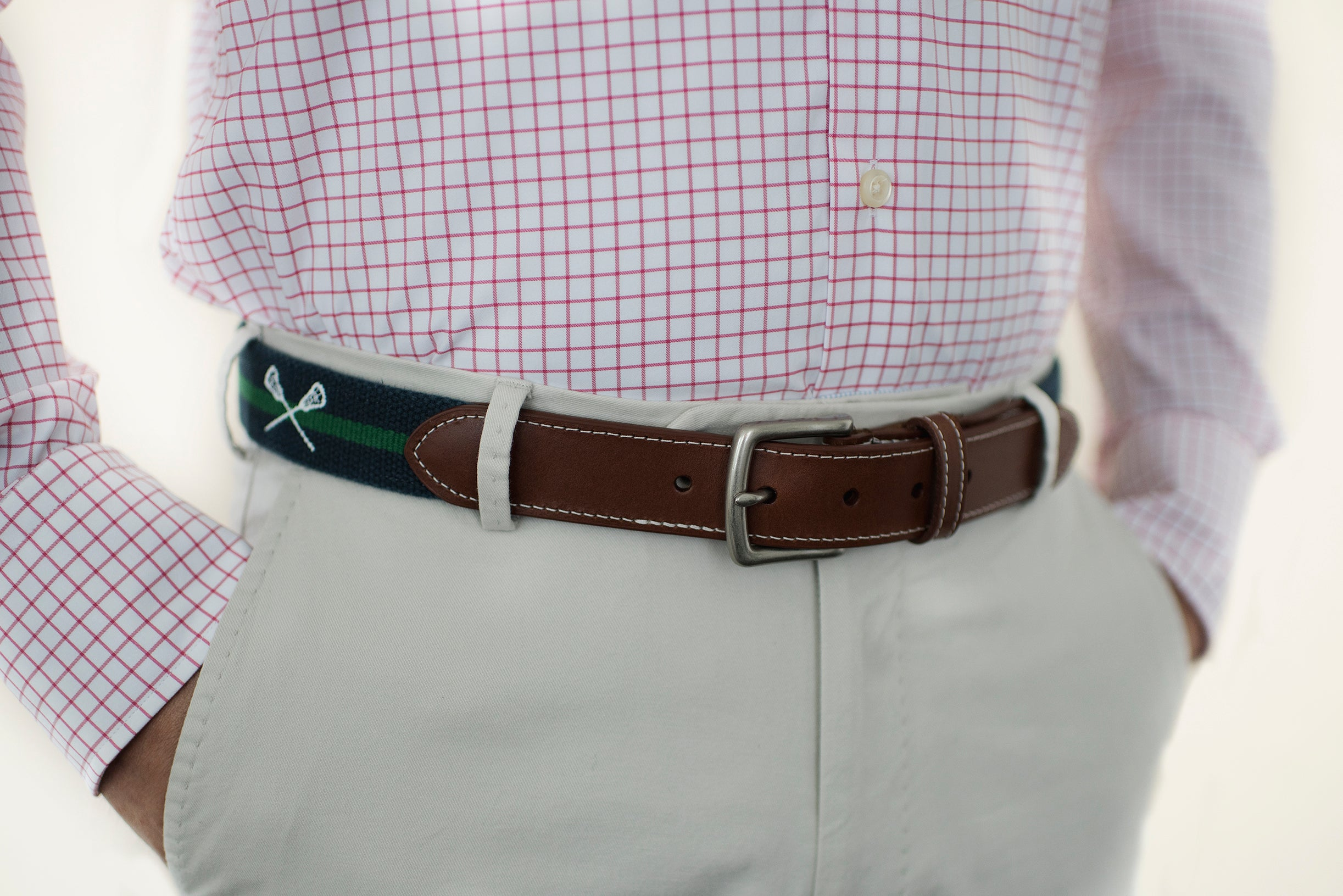 Lacrosse Sticks Lax Belt (patriot navy with Erin green)