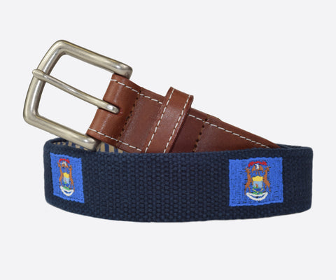 Michigan State Flag Belt (Patriot navy)