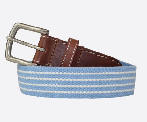 JT Spencer Stripe Belt (tarheel blue/white)