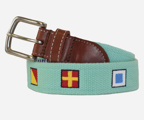 Anchors Aweigh Nautical Flags belt (Teal)