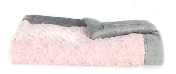 Saranoni Lush Receiving Blanket in Light Pink Swirl and Gray